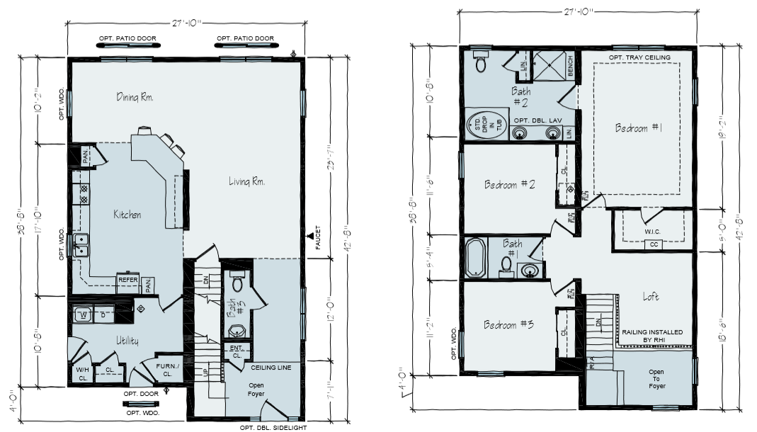 New Home Floor Plan | University Main & Second Floor Plan | Vertical Works