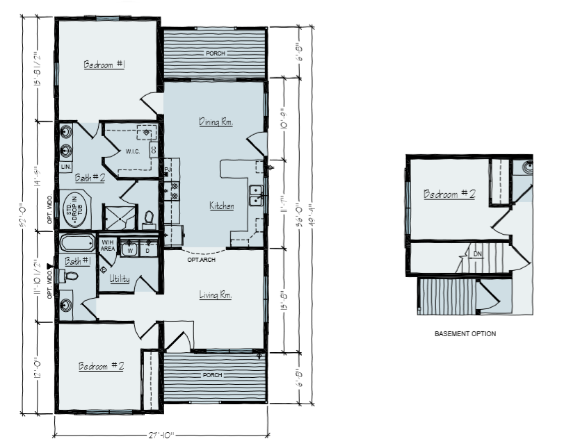 2 Bedroom Ranch House Plans | Vernon Main Floor Plan & Basement Option | Vertical Works